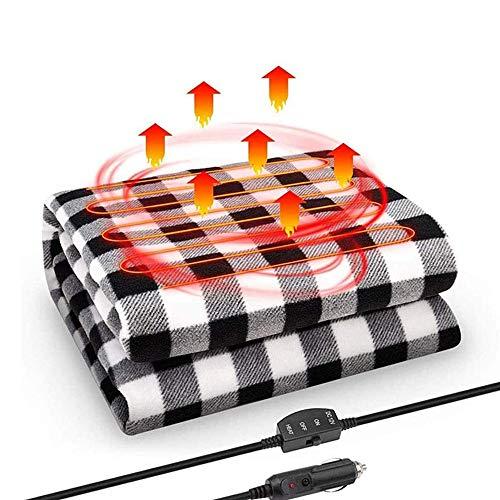 JanTeelGO Manta calefaccionada para Autos, 12 Volt eléctrico Fleece Temperatura Constante Anti-sobrecalentamiento Manta Caliente para Camiones vehículo Barcos RV, Viaje de Invierno Uso (Negro Blanco)