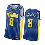 BFDC Camiseta de Baloncesto para Hombre, Camiseta de Baloncesto Pacers No. 4 Oladipo, Uniforme de Baloncesto No. 1 Warren, Uniforme de Baloncesto No. 8 Holiday, Tela Transpirable XL No.8