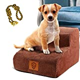 Topmart High Density Foam Pet Steps 2 Tiers,11.8' High,Non-Slip Dog Stairs,Dog Ramp,Soft Foam Dog Ladder,Best for Dogs Injured,Older Cats,Pets with Joint Pain,Suitable for Low Sofas,Stairs,Lower place