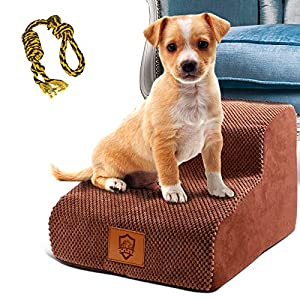 High Density Foam Pet Steps 2 Tiers,Topmart Non-Slip Dog Stairs,Dog Ramp,Soft Foam Dog Ladder,Best for Dogs Injured,Older Cats,Pets with Joint Pain,Suitable for Low Sofas,Stairs,Lower place,High 11.8″