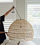 AFUMMID Chandelier Rattan Bamboo Wicker Chandelier Modern Hand-Woven Bamboo LED Pendant Lamp Vintage Living Room Hanging Pendant Lights for Home Decor Industrial Lighting Fixtures