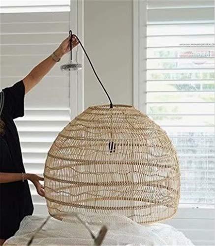 Vinteen Retro Vintage araña ratán bambú araña de Mimbre Moderno Tejido de bambú led led Lara lámpara Vintage Sala de Estar Colgante Luces Colgantes para decoración de hogar Accesorios industriales