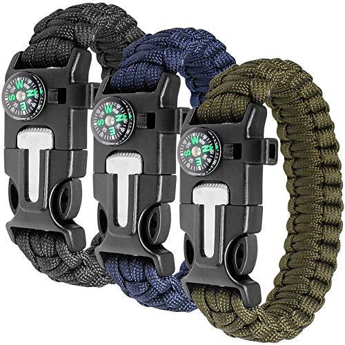 Hasey Juego de pulseras de supervivencia, juego de 3 para supervivencia al aire libre, kit de supervivencia con brújula, iniciador de fuego, cuchillos y silbatos de emergencia (negro, azul y verde)