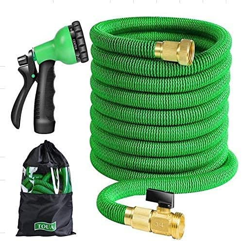 """[Best of 2021] Flexible 50ft Expandable Garden Hose - Retractable Water Hoses, Double Latex & Lightweight 3/4"""" Solid Fittings and 6 Function High Pressure Spray Nozzle with Free Storage Bag"""