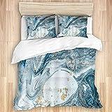 DYCBNESS Housse de Couette,Abstract Blue Swirls Rides De Marbre Océan Naturel De...