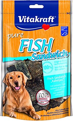 Vitakraft Hundesnack, Fish Sandwich mit Kabeljau und Fischhaut, Getreidefrei, 6er Pack ( 6 x 80 g)