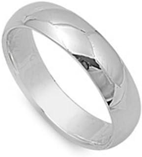 California Toe Rings Women's 5Mm Sterling Silver Plain Wedding Band Finger Toe Ring