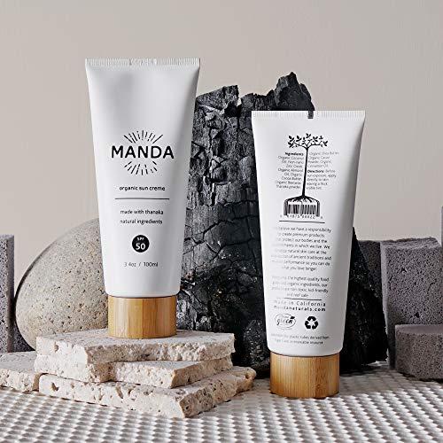 MANDA - Organic Sun Creme - Natural Sunscreen - SPF 50 - Reef Safe - Broad Spectrum Sun Lotion - 3.4oz