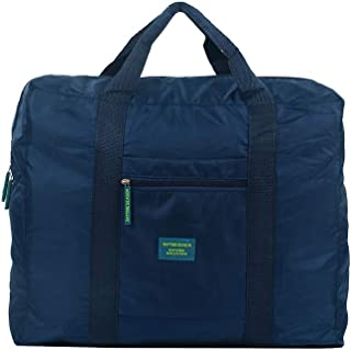 Waterproof Travel Duffel Bag Foldable Packable Lightweight High Capacity Luggage Nylon Tote Bag 1pc Navy Blue