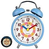 Despertador analógico para niños,Relojes de alarma silenciosos para niños, niñas, junto a la cama, sin tictac, con pilas, relojes de mesa con campana doble, función de luz[Clase energética A +++]