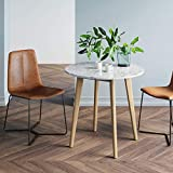 Nathan James 41402 Amalia Round Marble Bistro Dining Table with Legs in Tan Wood Finish and Faux White Carrara Marble Table Top, Light Brown