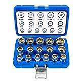 Haskyy - Set di 16 pezzi, XZN Torx - Set di chiavi a bussola a 12 punte, 8-24 mm, per esterni