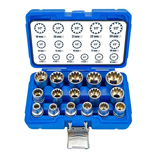 16tlg. XZN Torx Zoll Vielzahn Nüsse 8-24mm 12-Kant Steckschlüssel Nuß Satz Stecknuß Außen