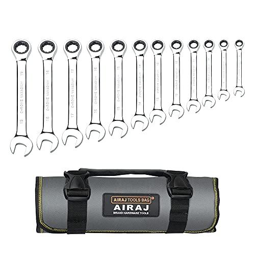 Juego de llaves combinadas con trinquete de 12 piezas, métricas 8-19 mm, juegos de llaves combinadas, 72 dientes, acero al cromo vanadio, niquelado con bolsa de organización