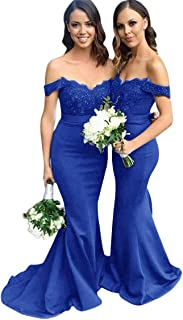 Jonlyc Women's Off The Shoulder Lace Mermaid Bridesmaid Dresses Satin Long Evening Gowns