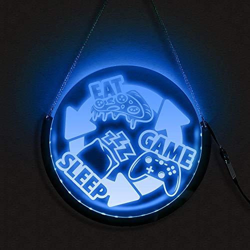 Señal de luz nocturna para dormir con luces LED redondas, para colgar en juego, para jugadores, 40 x 40 cm
