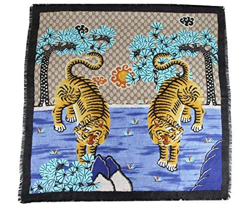 Gucci Women's Blue Beige/Ebony GG Bangal Tiger Print Large Silk Scarf 457751 9669