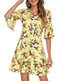 Missufe Bell Sleeve Floral Skater Sundress Women's Fit and Flare Ruffle Summer Dress (Yellow Floral Print, Small)