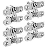 AConnet Hidden Door Hinges 4 Pack Concealed Cross Hinge Invisible 180 Degree Swing Invisible Hinge for Cabinets, Wooden Box, Buffet
