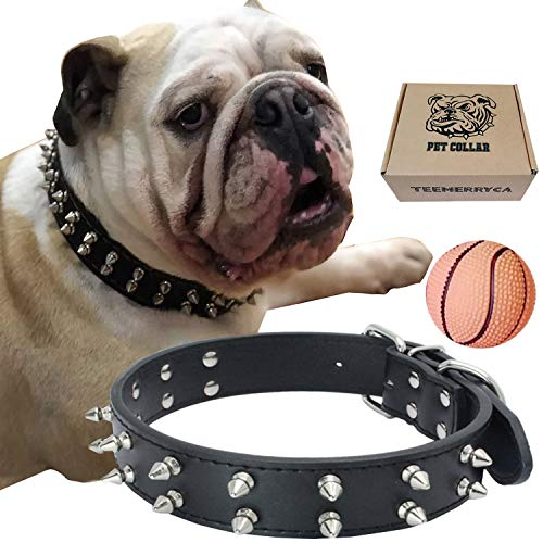 teemerryca Leather Spiked Studded Dog Collars with a Squeak Ball Gift for Medium Large Dogs Like Pit Bull/Bulldog/Husky Labrador/German Shepherd, Black, Small 14.1-18.1 inches