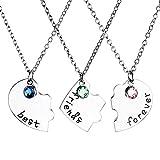 Jovivi 3pc/Set Silver Tone Best Friend Forever Heart Shape Puzzle BBF Friendship Pendant Necklace Jewelry Set