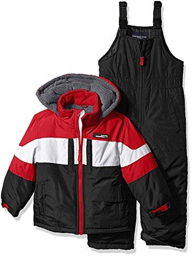 LONDON FOG Big Boys' 2-Piece Colorblock Snow Bib and Jacket Snowsuit, Red 10/12