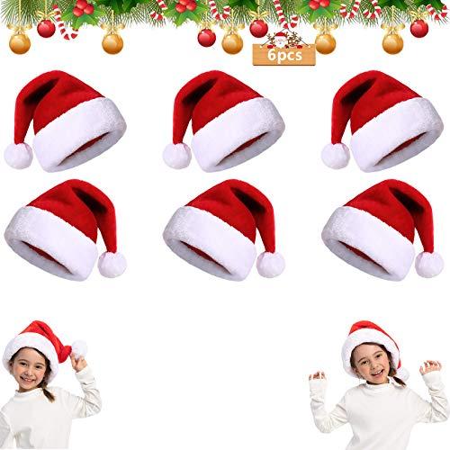 6Pcs Gorro de Papá Noel,Gorro de Navidad para Adultos,Gorro de Papá Noel Gorro de Papá Noel,Gorro Navideño para Niño,Gorro de Navidad de Felpa Suave,Unisex Sombreros Rojos de Navidad (F)