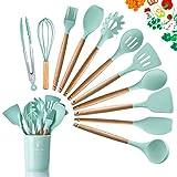 DOPGL Juego de 11 utensilios de cocina de silicona, resistentes al calor, mango de madera, sin BPA, no tóxico, espátula, espátula, cuchara, utensilios de cocina antiadherentes Verde Brillante