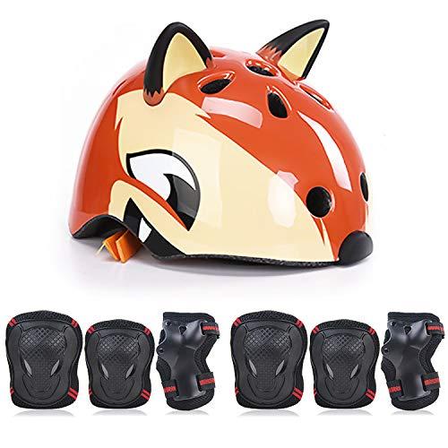 Winthai 7PCS niños niños Dibujos Animados Fox Protective Gear Set con Casco...