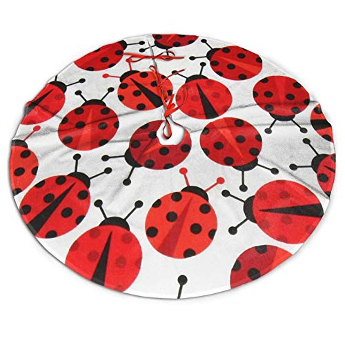 ouyjian Red Ladybugs Christmas Tree Skirt Xmas Tree Skirt Christmas Decorations for Xmas Festive Holiday Ornament New Year Party 48'