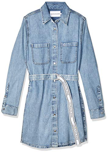 Calvin Klein Jeans Damen Relaxed Shirt Dress Belt Kleid, Denim, M