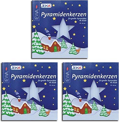 Pyramidenkerzen 54 Stück weiss 17x100 mm ( 3 Pack a 18 Stück) – MEGAPACK