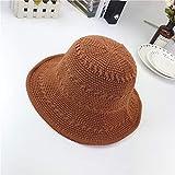 mlpnko Sombrero Sombrero de Pescador Femenino Visera para el Sol Salvaje Tapa de Lavabo Plegable Rizado Tapa de Lavabo de Cuatro Barras Caramelo M (56-58 cm)