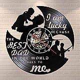 Soy Muy Afortunado Porque el Mejor papá del Mundo me ama Disco de Vinilo Reloj de Pared Reloj de Pared Regalo del día del Padre