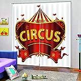BCDJYFL Impresión 3D Cortinas Circo Cortinas Dormitorio Moderno con Térmicas Aislantes para Ventanas De Habitación Salón Decoración.170X200Cm(Ancho X Alto)