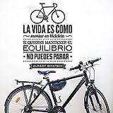mlpnko DIY Vinilo Pared Calcomanías,La Vida es como Andar en Bicicleta, póster de Pared, Bicicleta Deportiva, decoración del hogar-57x77cm