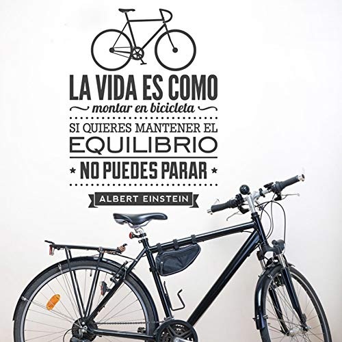 fancjj Calcomanías de Pared en español La Vida es como Andar en Bicicleta Espana Vinilos Decorativos De Bicicletas Vinilo Etiqueta de la Pared Decoración para el hogar 78X56CM