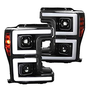 Spec-D Tuning Black Projector Headlights LED Sequential Signal Switchback for 2017-2019 F250 Head Light Assembly Left + Right Pair