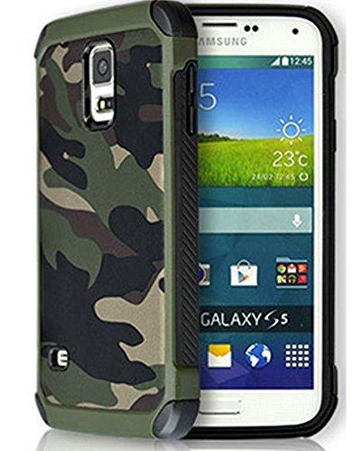 FDTCYDS Galaxy S5 Hülle Shockproof Hybrid Rugged Camouflage Cover Handyhülle für Samsung Galaxy S5 SV - Camo Grün