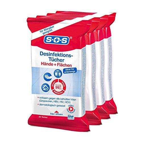 SOS Desinfektions-Tücher: Desinfektionstücher zur gründlichen und schnellen Hand- & Flächendesinfektion, 4 x 25 Stück