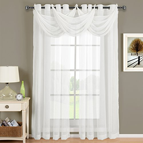 Abri Grommet Crushed Sheer, Exquisite White Five Piece 84 Inches Long Window Treatment Set, Contemporary Décor Set Includes Two Panels & Three Waterfall Valances, Complete Modern & Elegant Look