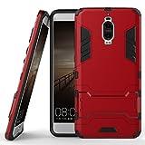 Funda para Huawei Mate 9 Pro (5,5 Pulgadas) 2 en 1 Híbrida Rugged Armor Case Choque Absorción Protección Dual Layer Bumper Carcasa con Pata de Cabra (Rojo)