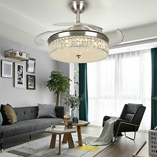 Lámpara de araña moderna, ventilador de techo de cristal, para restaurantes o restaurantes, con 3 colores cambiantes, para salón, comedor, lámpara de araña de 42 pulgadas