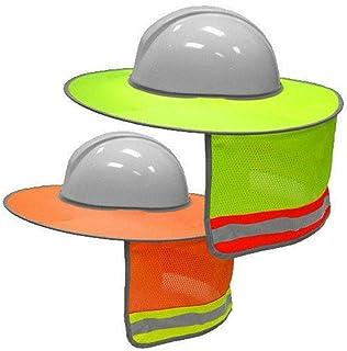 2 Pcs High Visibility Hard Hat Sun Shield Full Brim Reflective Sun Shade Neck Flap Sun Protection Packable