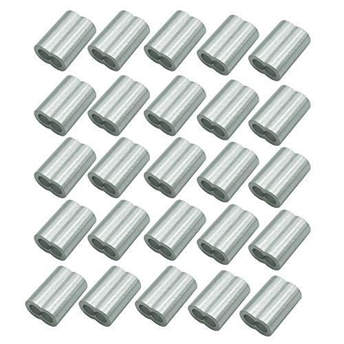 25pcs 5.0mm alambre de aluminio que prensa lazo manga doble virolas tipo...