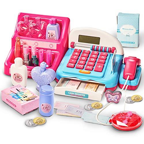 HERSITY Registratore di Cassa Giocattolo con Scanner Elettronico Supermercato Cassa Soldi Gioco Trucco Bambina Giochi di Ruolo Regalo per Bambini
