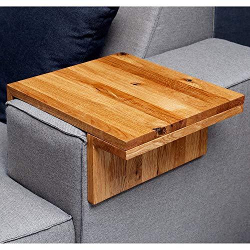 Moebelwerte TABLETT FÜR Sofa/Couch/Lounge ARMLEHNE - BREITE 20-25 cm - EICHENHOLZ RUSTIKAL VERSTELLBAR