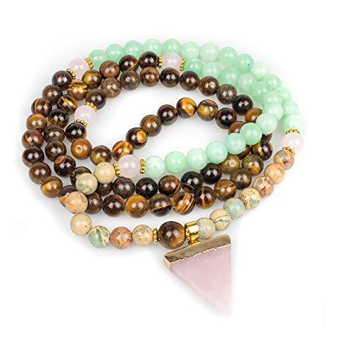 Myga RY1437 - Collar con cuentas de perlas con bolsa de regalo y caja de madera ecológica natural, amor y pureza incondicionales
