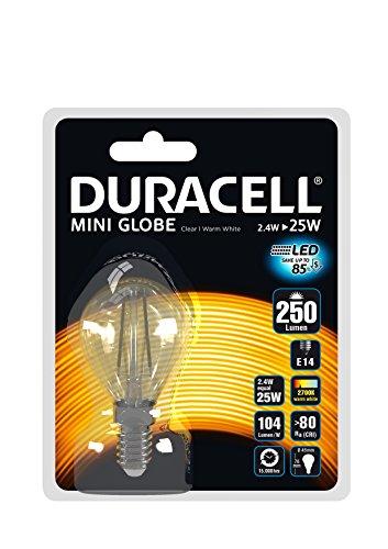 Duracell LED Bombilla 2,4W (bombilla transparente E14Socket largo Lasting Instant de luz