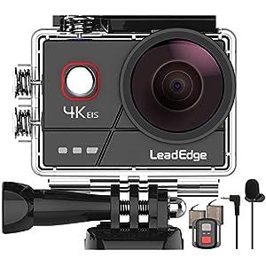 LeadEdge A20ActionCamera4K/30FPS 1080P/60FPS20MPEISAnti-ShakeExternalMicrophoneWiFi2.0IPSLCD170°Wide-AngleRemoteControlDiving131ft2x1050mAh Waterproof HelmetUnderwaterCam